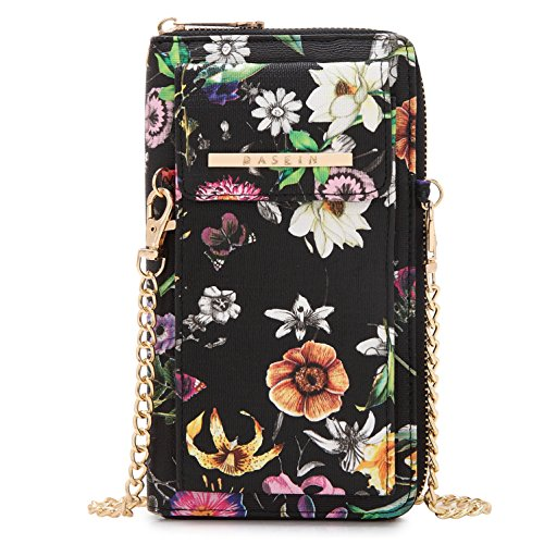 Cellphone Wallet Smartphone Pouch Clutch Purse Crossbody Shoulder Bag Wristlet (3020-Black Floral) by MKY