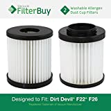 vacuum express vac - 2 - FilterBuy Dirt Devil F-22 (F22) F-26 Washable HEPA Replacement Filters, Part # 1-LV1110-000. Designed by FilterBuy to fit Dirt Devil Aspire Model 084590 & Featherlike Model 085850