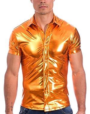 Mens Liquid Metallic Short Sleeve Button Down Dress Shirt