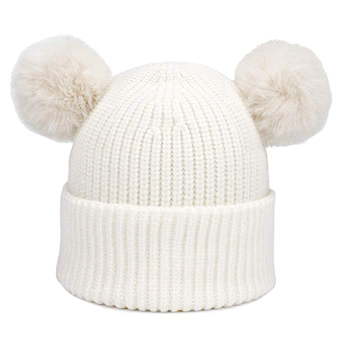 52489790 Amazon.com: MJ-Young Winter Baby Knit Hat with Two Faux Fur Pompoms Boy  Girls Fur Ball Beanie Kids Caps A OneSize: Clothing