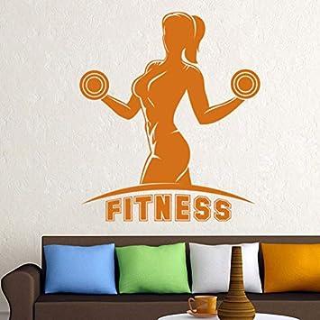 Fitness Mancuernas Nombre Etiqueta Chica Gimnasio Calcomanía Body-building Posters Vinilo Tatuajes de pared Decoración Gimnasio Etiqueta 58x67cm: Amazon.es: ...
