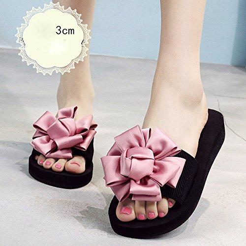 LIXIONG Portátil Los 3.5cm - los zapatos de tacón alto de los altos talones de los altos talones del verano de los altos talones calzan las sandalias para 18-40 años -Zapatos de moda ( Color : Blue-3c Pink-3cm