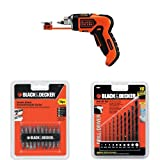 BLACK+DECKER LI4000 4-Volt Lithium-Ion SmartSelect Screwdriver with Magnetic Screw Holder with 71-081 Double Ended Screwdriving Bit Set, 10-Piece and 15557 Drill Bit Set, 10-Piece