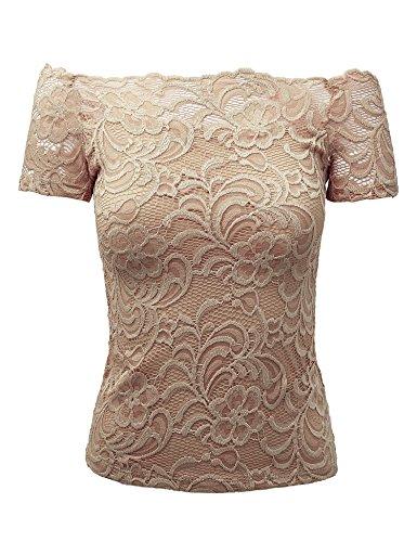 - WT1754 Womens Short Sleeve Off Shoulder Scallop Trim Floral Lace Top M Khaki