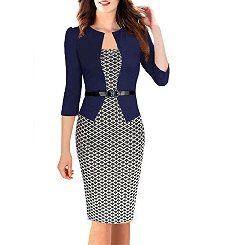 Toping Fine Womens Elegant Three Quarter Sleeve Cotton Blends Patchwork with Sashes Pencil Office Dress Suits BlackLarge by Toping Fine wool-outerwear-coats (Image #2)