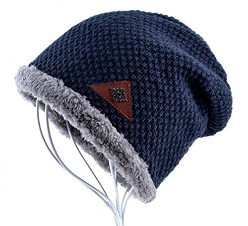 AKIZON Beanie Hat Cap Fall and Winter Warm Knit One Size Unisex (Dark Blue)
