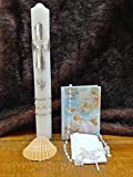 Silver Holy Cross Angel Deluxe Baptism Candle & Bible Unisex Set