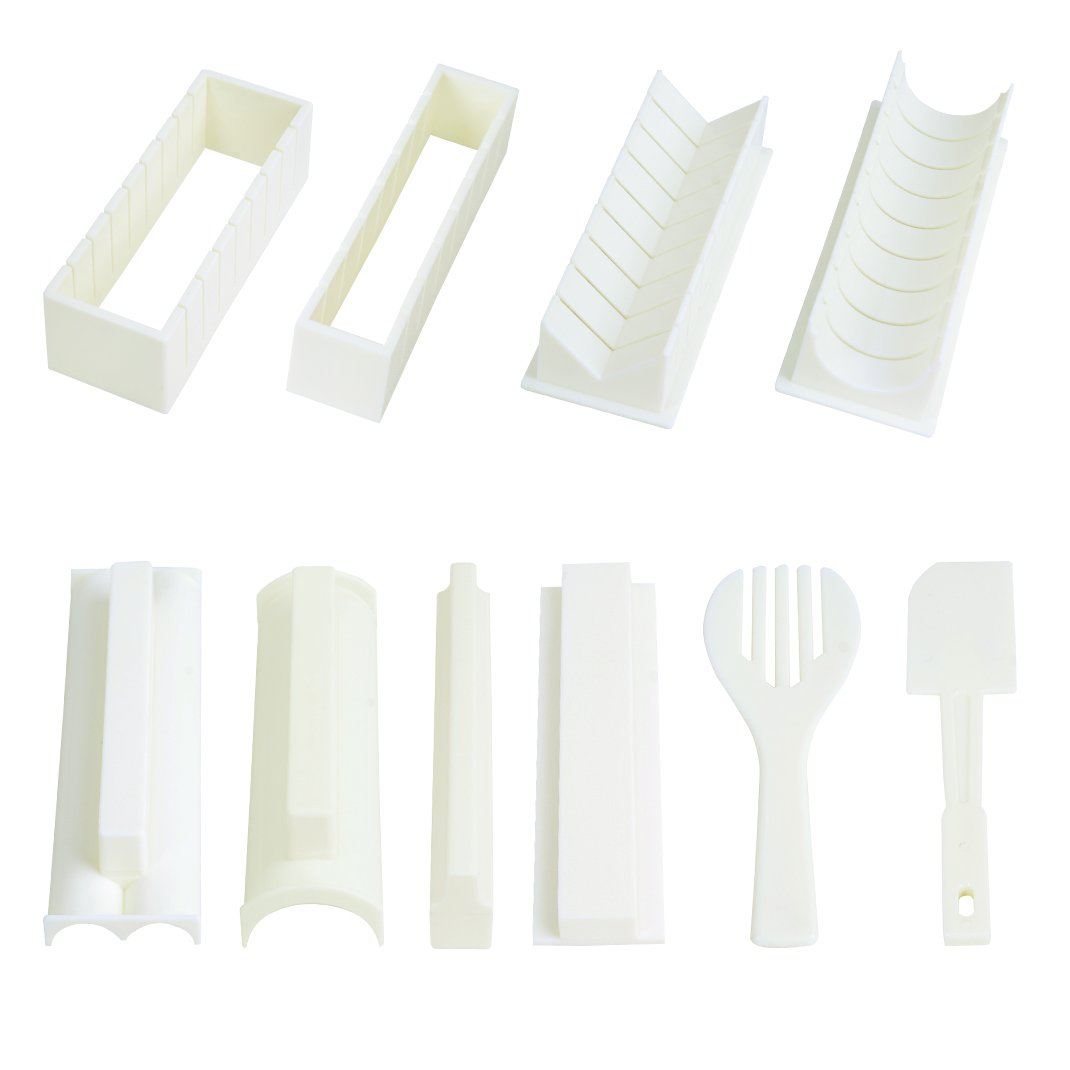 EXZACT EX-SM10 Sushi maker kit 10 pcs/Rice Roll Mold - 5 Unique Mold Shapes  - Heart, Round, Pyramid, Square/DIY Japanese cuisine at home/Easy and Fun