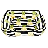 Thro by Marlo Lorenz Micromink Pet Bed, 19'' x 22'', Black White Yellow