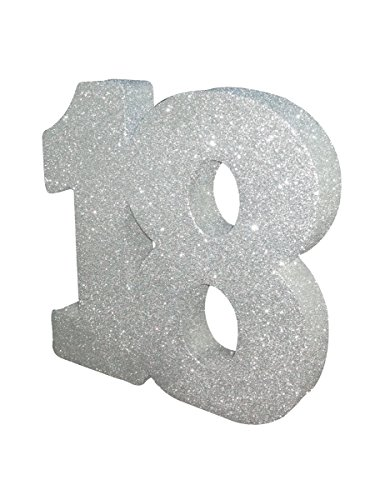 Silver Glitter Number Table Decoration Ag