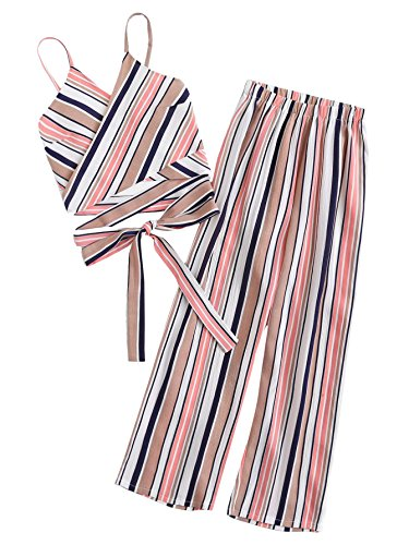 Floerns Women's Two Piece Outfit Striped Crop Top with Pants Multi-3 S