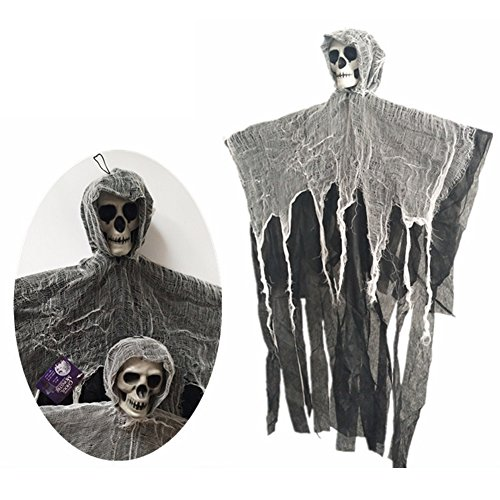 Scariest Halloween Decoration (3-Ft Skeleton Ghost Witch with Linen Halloween Props 23 Inch arm wide for Halloween Ghost House Bar Decorate)