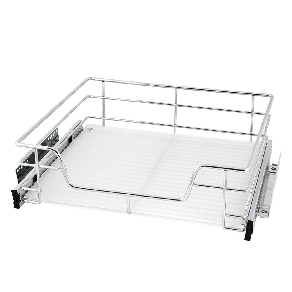 EvergoHome Roll Out Cabinet Organizer- Chrome Pull Out Under Cabinet Single Sliding Shelf -Suitable for 24 inches Wide Kitchen Cabinet (External) - Multiple Sizes