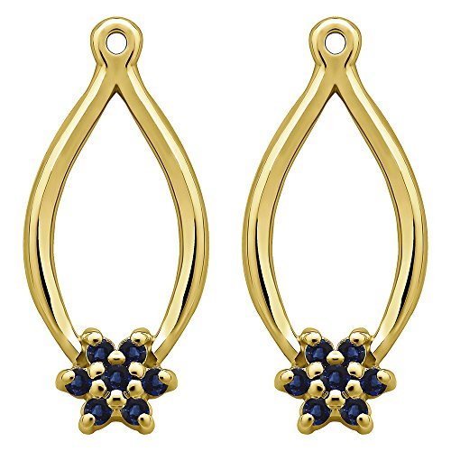 1/5 ct. Sapphire Genuine Sapphire Flower Earring Jackets in 14k Yellow Gold (0.22 ct. twt.) by TwoBirch