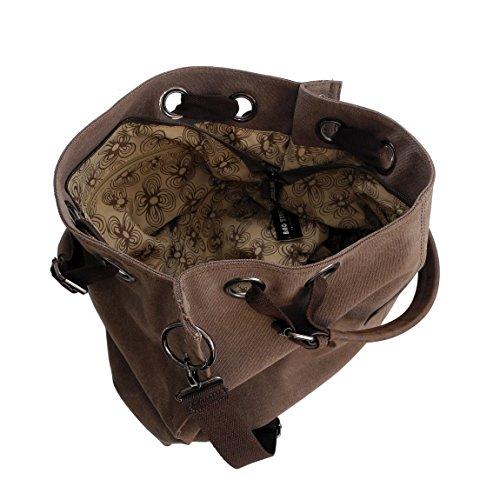 ZMOKA® Bag Street - Bolso informal de lona para mujer, para llevar en el hombro o como bandolera, tela de algodón, marrón (marrón) - 0