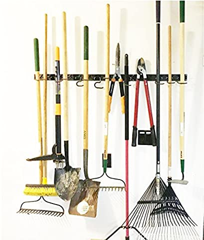 Adjustable Storage System 48 Inch, Wall Holders for Tools, Wall Mount Tool Organizer, Garage Organizer, Garden Tool Organizer, Garage - Adjustable Rake