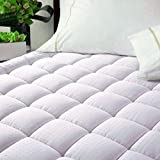 EASELAND Luxury Hotel Quilted Mattress Pad Cover 300TC 100% Cotton Top - Goose Down Alternative Filling -Stretch Up to 8-21 Inch Deep -Mattress Topper (Queen,White)