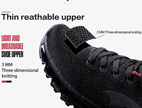 Los Zapatos Corrientes De Cojín De Aire Onemix Hombres, Zapatos Deportivos Casuales Negro / Rojo