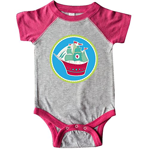 inktastic - Sailing Ship Girls Infant Creeper Newborn Heather and Hot Pink 306c0