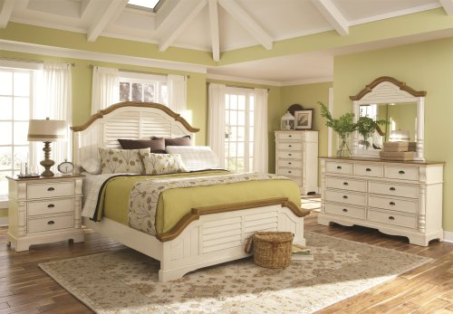 Oetla Collection Bedroom Classic Country Cottage Style Buttermilk Finish Arched Shutter Panel HB Queen Size Bed w Matching Dresser Mirror Nightstand 4pc Set (Shutter Queen)