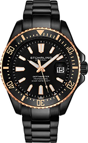 Stuhrling Original Black Mens Dive Watch - Monochromatic Black IP Plated Sports Watch with Black Stainless Steel Bracelet and Gold Tone Bezel - Analog Watch with Screw Down Crown Waterproof to 330 Ft.