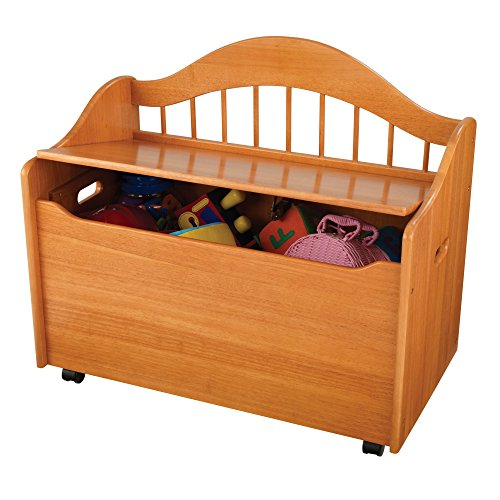 Beautiful and Portable Storage Chest Toy Box with Handles, Wheels for Portability, Sturdy Wood Construction, Safety Hinge, Doubles as a Bench, Multiple Colors by Jaxterrific