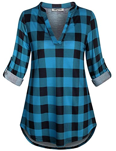 SeSe Code 3/4 Sleeve Blouse Women Work Juniors Swing Shirt Breathable Clothes Gorgeous Aline Slouchy Loose Fitting Designs Vneck Tunic Black and Blue XXL by SeSe Code