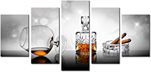 AWLXPHY Decor- Cigars Cup Wall Art Canvas Painting Set Framed 5 Panels for Kitchen Room Decor Modern Still Life Stretched Artwork Giclee (Grey, W40 x H20)