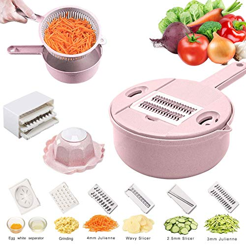 - Jeslon Vegetable Mandoline Slicer - 10 in 1 Vegetable Spiralizer Cutter and Shredder - Kitchen Multipurpose Julienne Grater with Guard and Egg white Separator - Low Carb Meals Veggie&Food Dicer