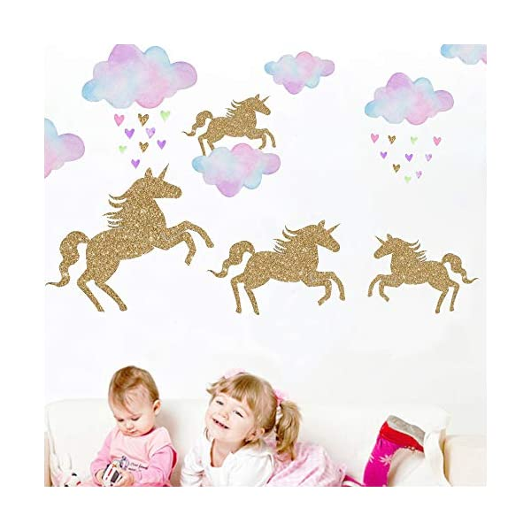 Unicorn Wall Decal, 2 Sheets Unicorn Wall Decor Stickers Removable Vinyl Decals Gifts for Girls Bedroom Kids Rooms Baby Nursery Home 5