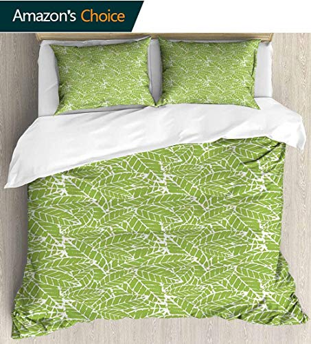 - shirlyhome Green Home 3 Piece Print Quilt Set,Watercolor Hand Drawn Leaf Pattern with Grungy Vintage Organic Nature Display Patterned Technique King Quilt Set 79