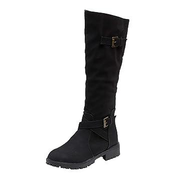 LuckyGirls Botas Muslo de Caña Alta para Mujer Zapatos con Hebilla y Cierre  Botitas Militares f0b99906192a5