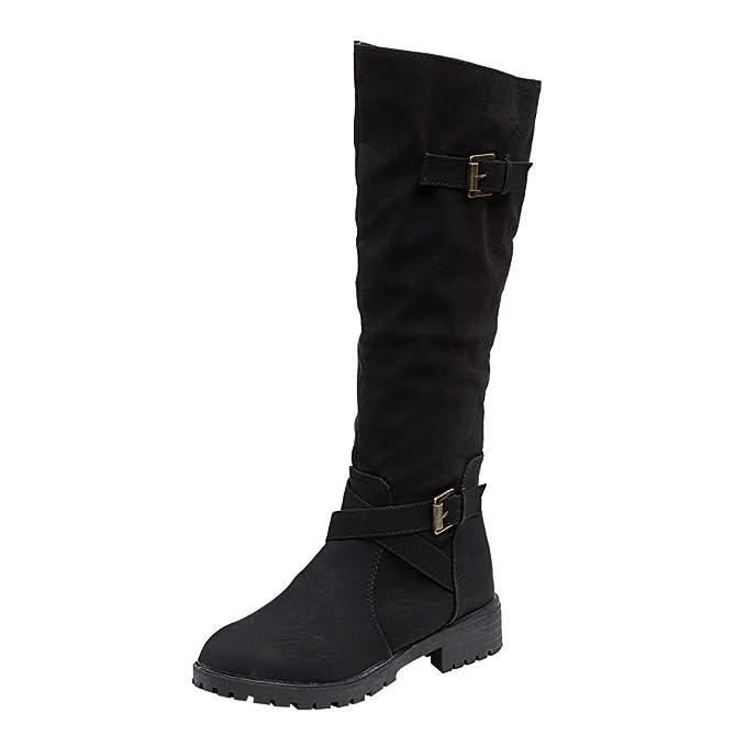 17e96d495625 Anshinto Womens Knee High Calf Biker Boots Ladies Retro Zip Punk Military  Combat Army Booties Winter