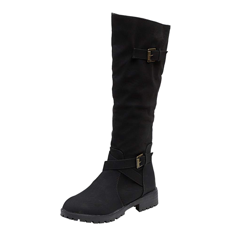 Aurorax-shoes Women's Knee Booties High 14.6'',Western Girsl Leather Flat Military Combat Biker Army Boot Long Boots 5.5-9.5 (Black, US:8/CN 40)