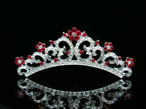 Small Rhinestone Crystals Princess Bridal Wedding Party Tiara Comb - Red Crystals Silver Plating -