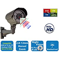 Evertech High Definition HD Night Vision Manual Zoom Outdoor Indoor Security Bullet Camera, Compatible 1080P 960P 720P AHD TVI CVI and Traditional Analog DVRs ( Default Analog/CVBS/960H Mode )