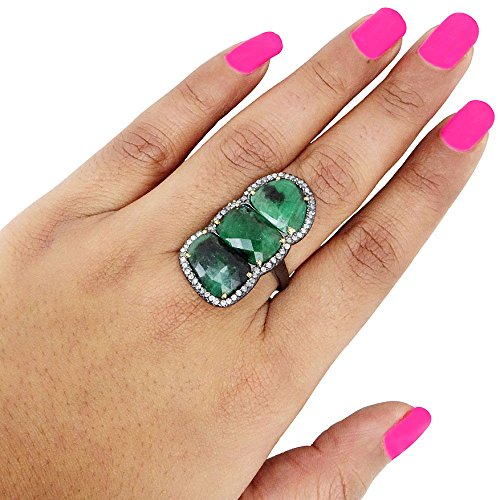 Emerald Three Stone Ring 14k Yellow Gold Pave Diamond 925 Sterling Silver Antique Style Gemstone Jewelry