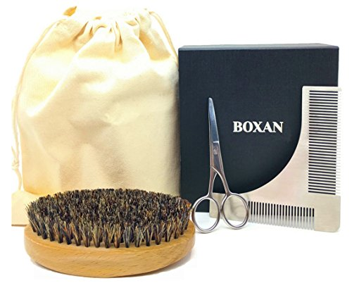 BOXAN Beard and Mustache Grooming Kit for Men - Beard Shaping Comb Template, Boar Bristles Beard Brush and Beard Trimming Scissor, with Gift Box and Carrying Bag for Facial Hair & Beard Shaping