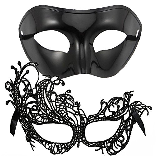 IDOXE US Size Masquerade Mask for Couples Sexy Venetian Halloween Costume (Swan (Sexy Halloween Couples)