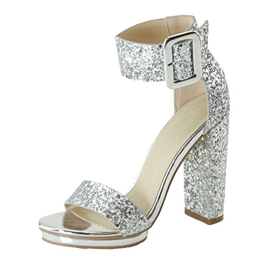 Love Mark Womens Open Toe Buckle Ankle Strap Cuff Platform Chunky Heel Pump Sandal 8 Silver - Sandal Inch 1/2 Ankle Platform Strap