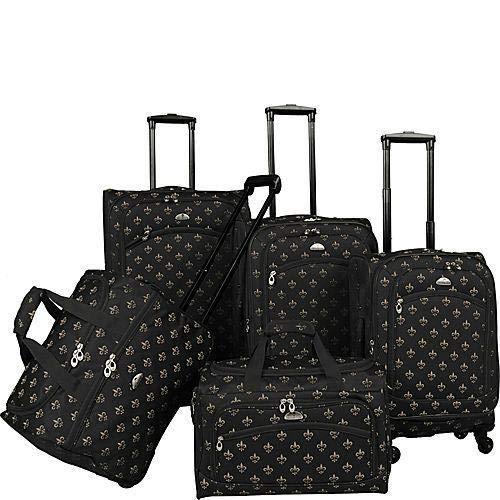 American Flyer Fleur De Lis 5-Piece Spinner Luggage Set, Black, One Size