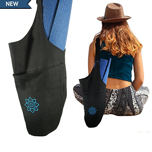 Yoga Mat Bag | 100% Cotton Sling Carrier with Large Pocket & Adjustable Strap | A Tote Bag for Yoga Class, Groceries, Gym, & Shopping