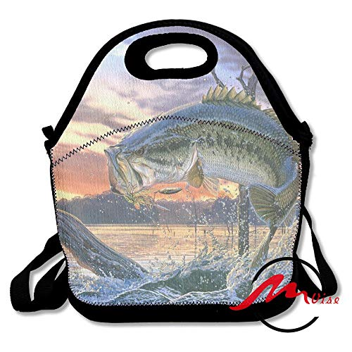 - ZMvise Bass Fish Jumping Lunch Tote Insulated Reusable Picnic Bags Boxes Men Women Youth Teens Nurses Travel Bag