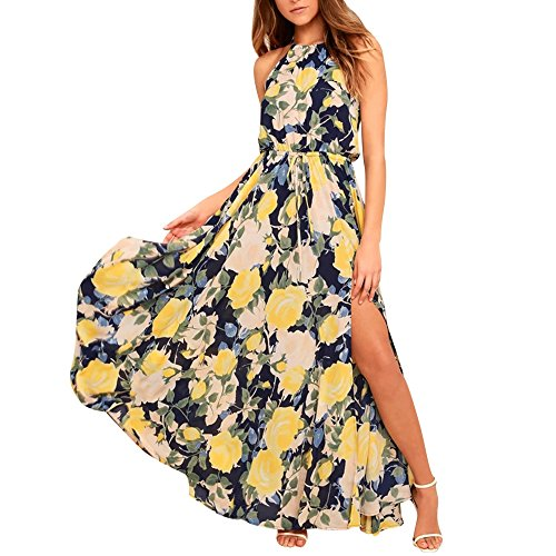 Womens Dresses Clearance! Women's Sexy Floral Printed Adjustable Sleeveless Lace Split Maxi Long Dress (L, Yellow) ()