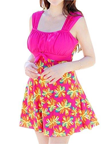 Wantdo Women's Plus Size Swimdress Flower Printed Swimwear Cover Up Swimsuits by Wantdo