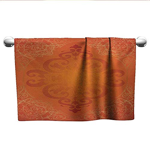 LilyDecorH Orange,Small Bath Towels Royal Antique Motifs with Victorian Swirls Vintage Traditional Revival Framework Microfiber Towels for Body Orange Gold W 14