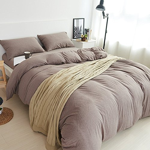 Adyonline 3 Pcs Jersey Cotton Comforter Cover Set Solid Pattern(1 Duvet Cover,2 Pillow Shams) Bedding Set Breathable&Lightweight\Coffee,Queen
