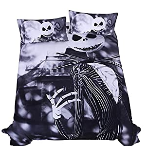 LightInTheBox Outlet Bedding Nightmare Before Christmas Cool Bed Linen Printed Soft Sheet Set Duvet Cover Set(Set of 3) (Full)