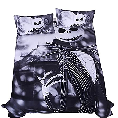 LightInTheBox Outlet Bedding Nightmare Before Christmas Cool Bed Linen Printed Soft Duvet Cover Set of 3(1 Duvet Cover,2 Pillow Shams ) 2 Pillow Shams /) Queen Queen S528264000004