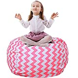 Extra-Large Stuffed Animal Storage Bean Bag Cover - Stuffed Toy Organizer & Perfect Storage Solution. Stuff, Zip, Sit - That's It! (Pink Wave, 38'')
